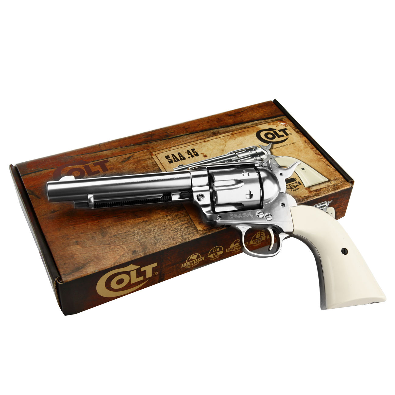 Colt Single Action Army 45 nickel CO2 Revolver Kal. 4,5mm Diabolo gezogener Lauf 5
