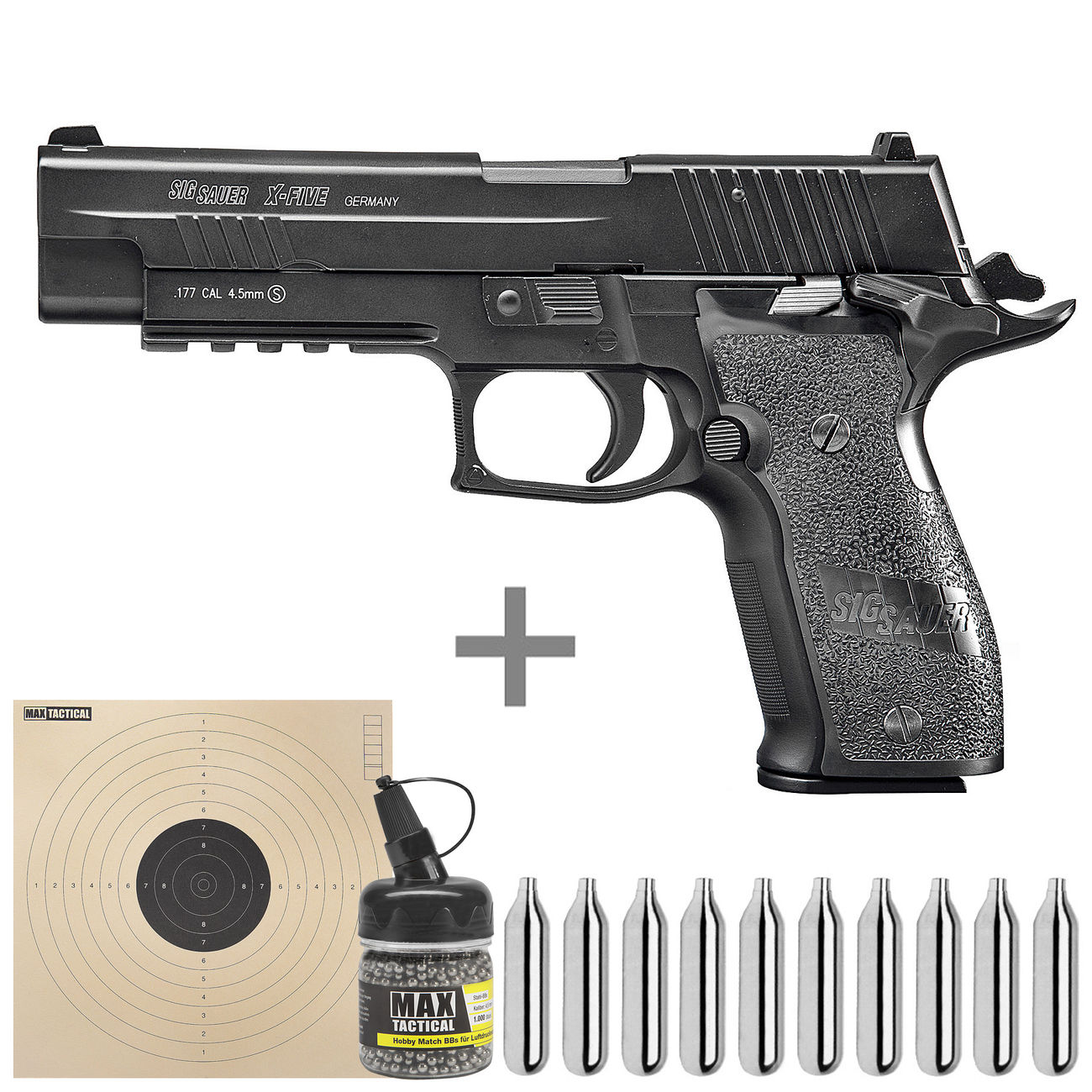 cybergun sig sauer p226 x five vollmetall co2 luftpistole 4 5mm bb starterset g nstig kaufen. Black Bedroom Furniture Sets. Home Design Ideas