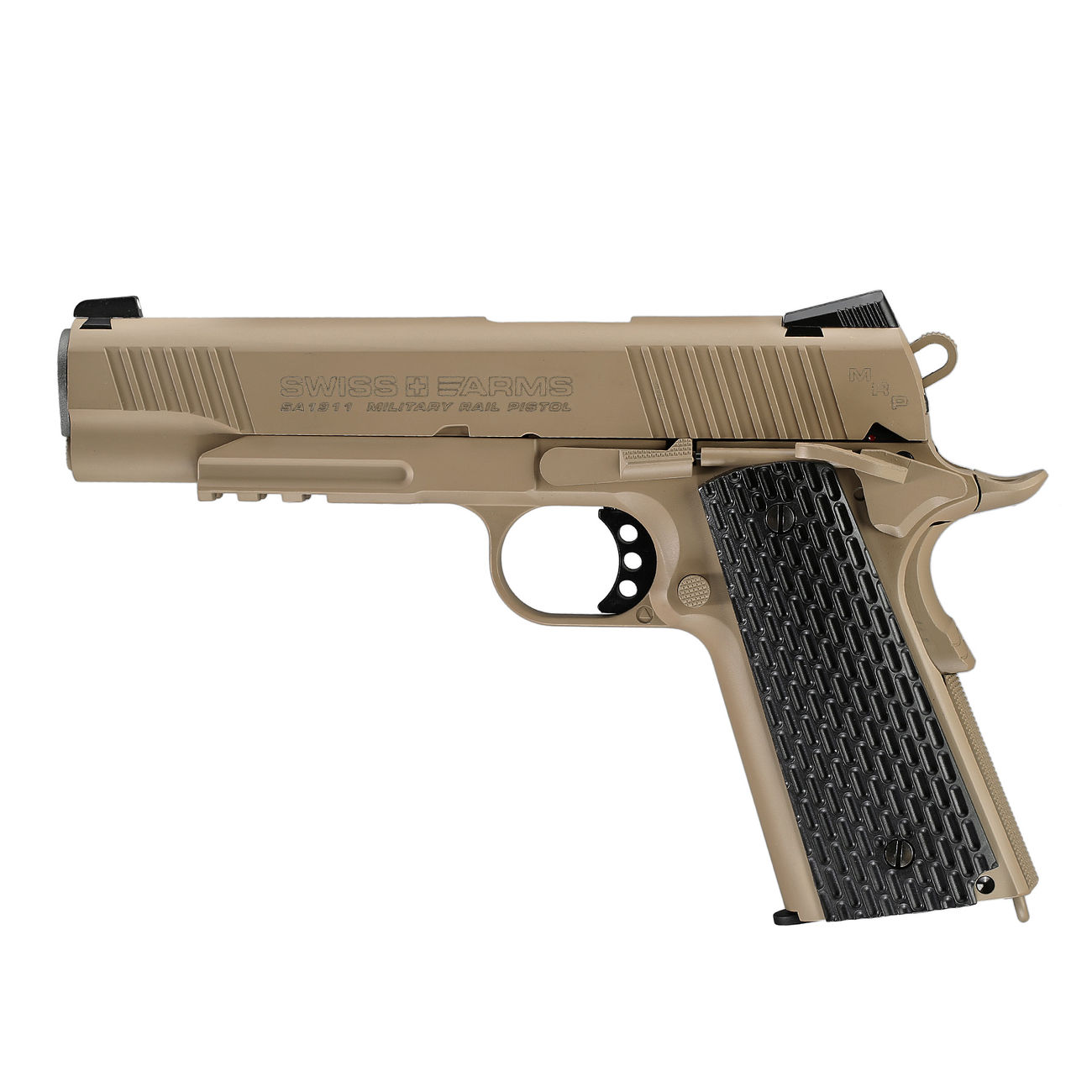 Swiss Arms P1911 CO2 Luftpistole Blow Back Kal. 4,5mmBB Vollmetall Military Rail desert 0