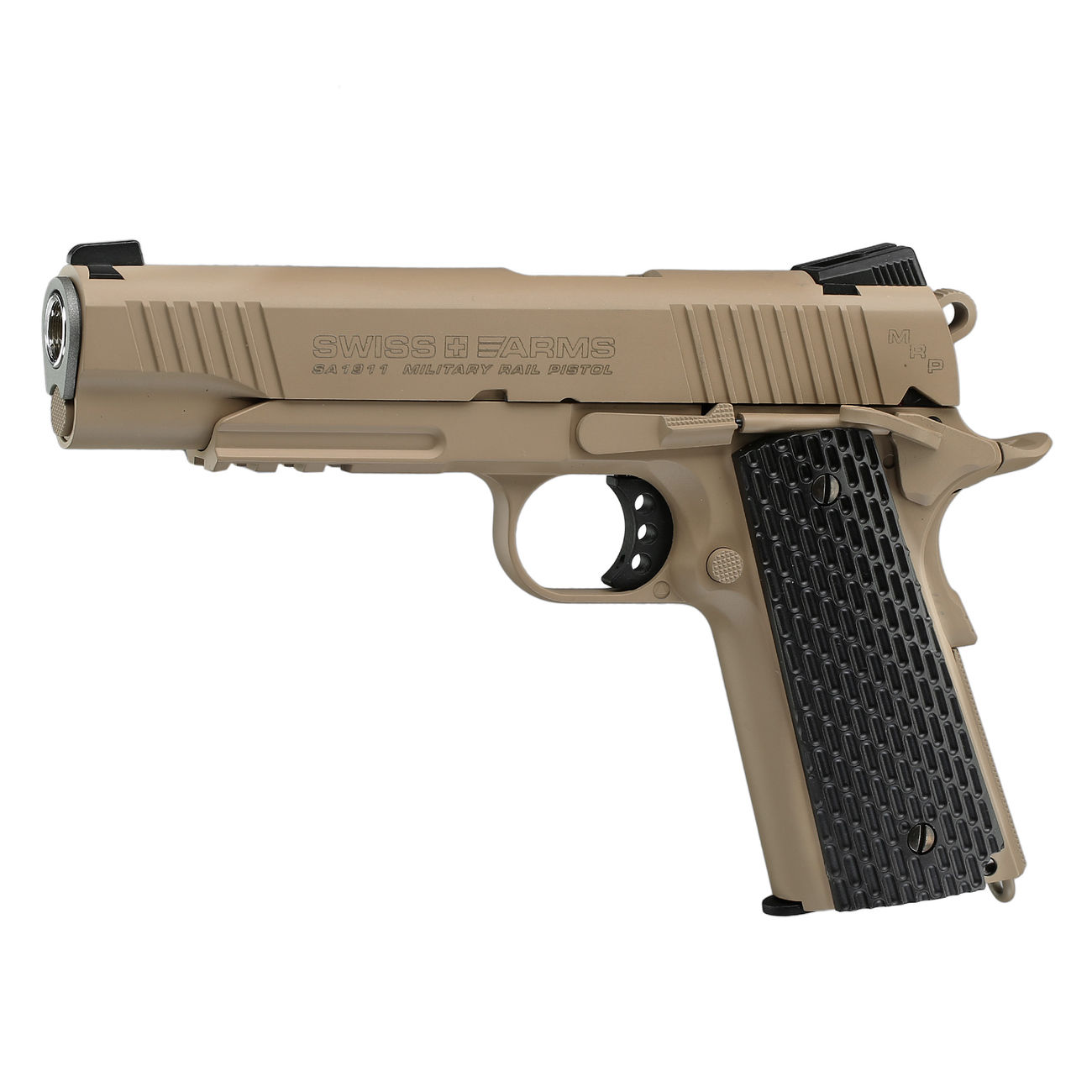 Swiss Arms P1911 CO2 Luftpistole Blow Back Kal. 4,5mmBB Vollmetall Military Rail desert 1