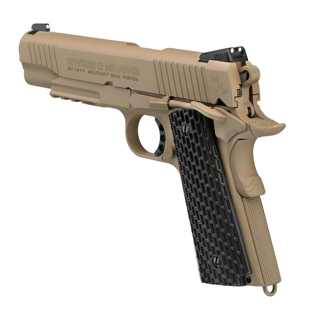 Swiss Arms P1911 CO2 Luftpistole Blow Back Kal. 4,5mmBB Vollmetall Military Rail desert 2