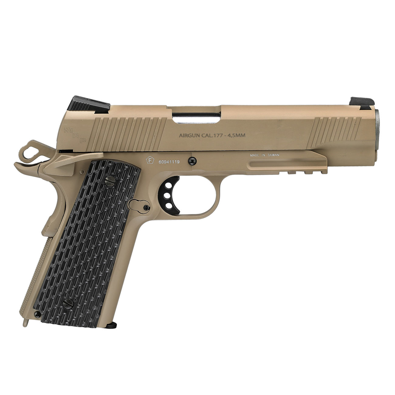 Swiss Arms P1911 CO2 Luftpistole Blow Back Kal. 4,5mmBB Vollmetall Military Rail desert 3