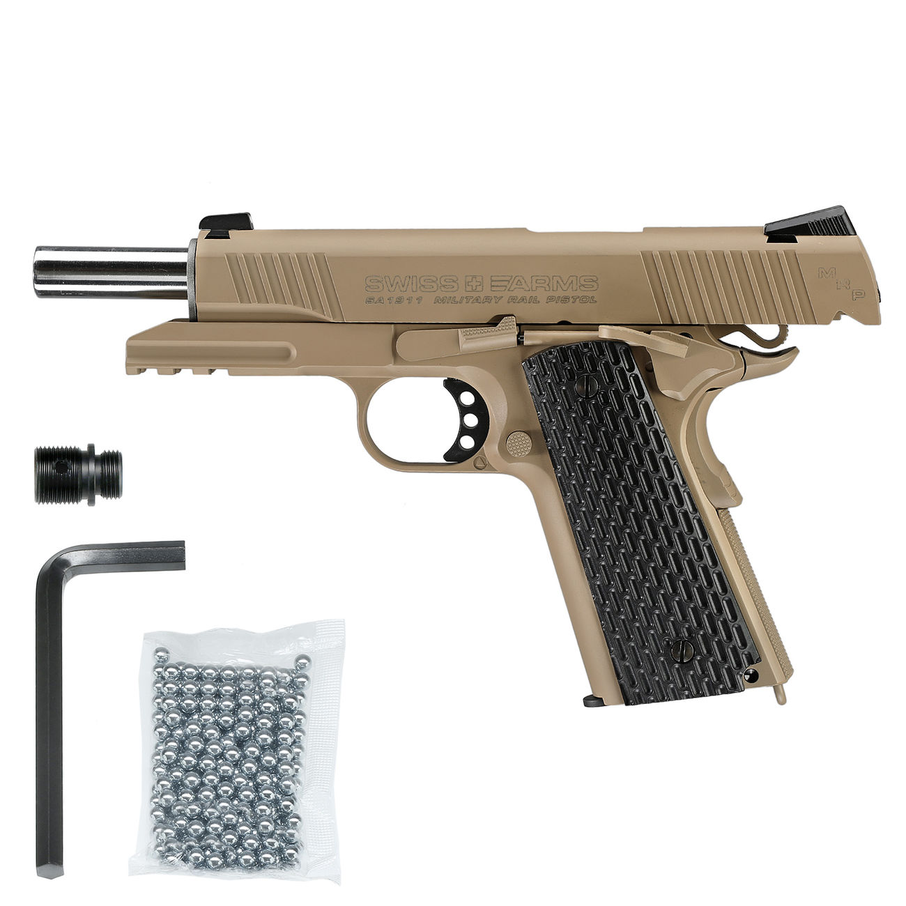 Swiss Arms P1911 CO2 Luftpistole Blow Back Kal. 4,5mmBB Vollmetall Military Rail desert 5