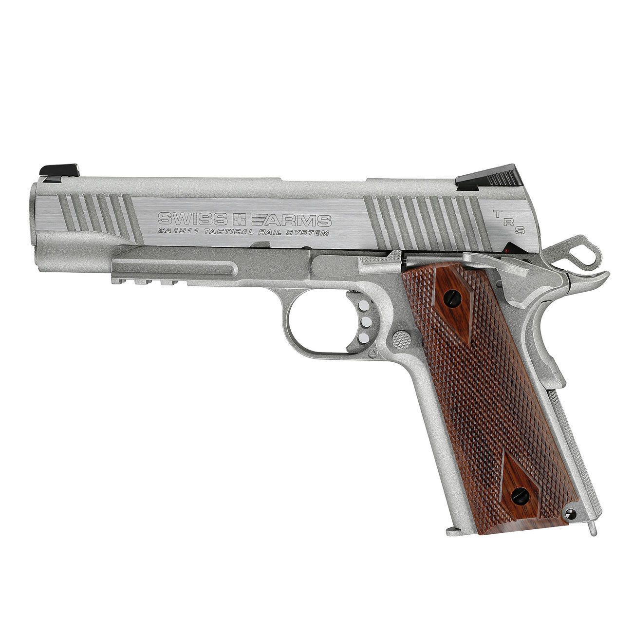 swiss arms p1911 co2 luftpistole blow back kal 4 5mm bb tactical rail silber komplettset deluxe. Black Bedroom Furniture Sets. Home Design Ideas