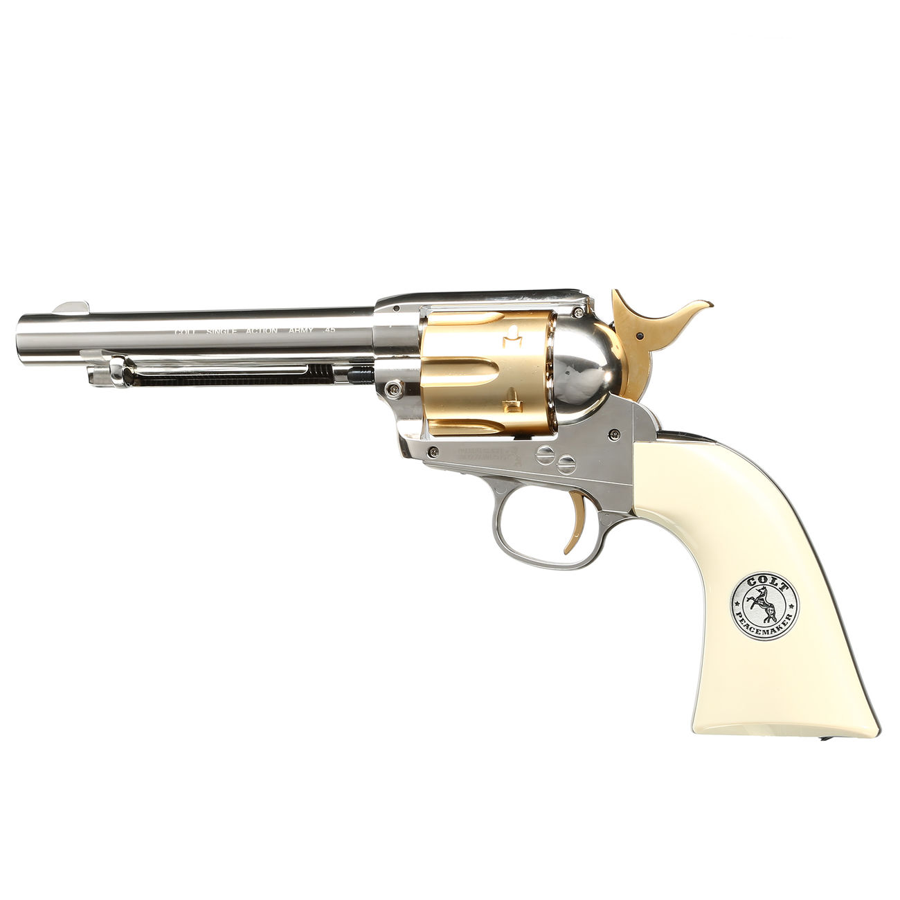 Colt Single Action Army 45 gold / nickel finish CO2 Revolver Kal. 4,5mm Diabolo gezogener Lauf 0