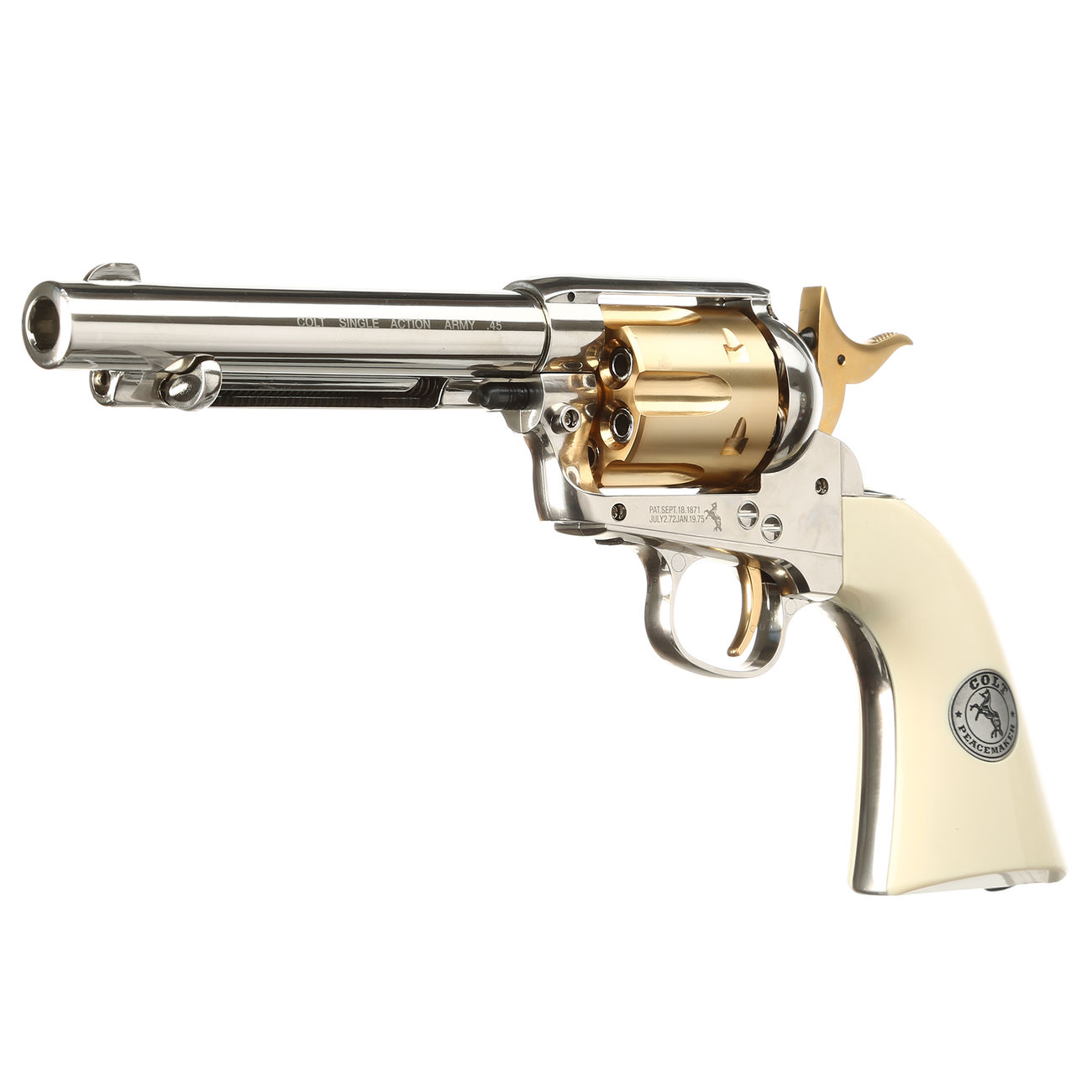 Colt Single Action Army 45 gold / nickel finish CO2 Revolver Kal. 4,5mm Diabolo gezogener Lauf 1