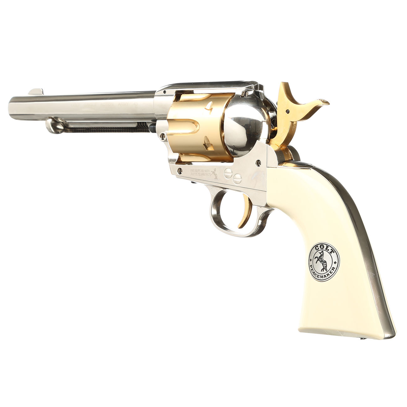 Colt Single Action Army 45 gold / nickel finish CO2 Revolver Kal. 4,5mm Diabolo gezogener Lauf 2