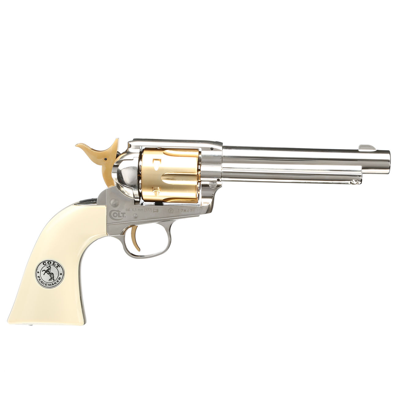 Colt Single Action Army 45 gold / nickel finish CO2 Revolver Kal. 4,5mm Diabolo gezogener Lauf 3
