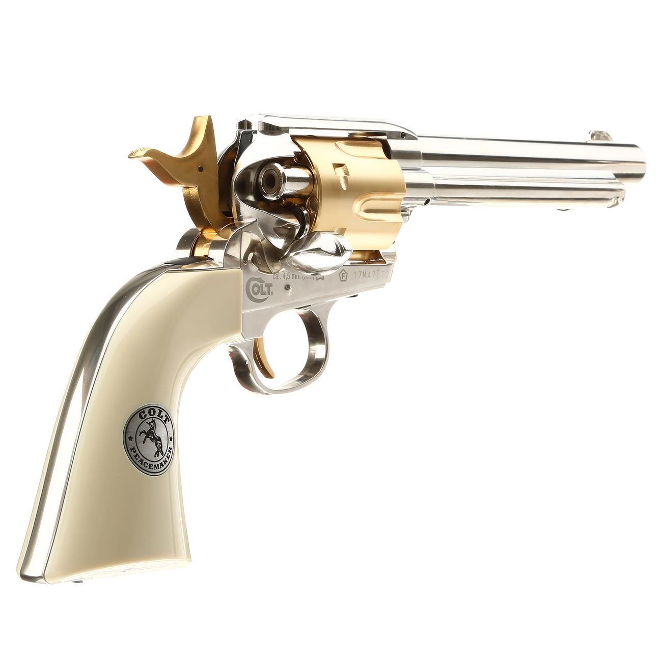 Colt Single Action Army 45 gold / nickel finish CO2 Revolver Kal. 4,5mm Diabolo gezogener Lauf 4