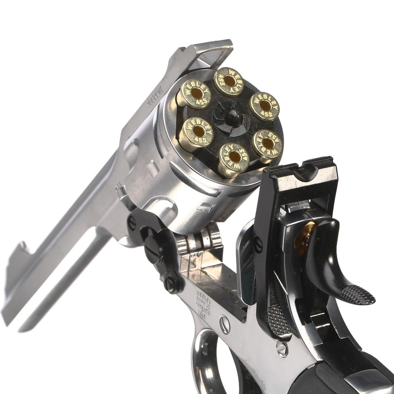 Webley MK VI CO2-Revolver Kal  4,5mm BB Chrom Exhibition Finish inkl   Holster, Stahl-BBs und Schießspiel