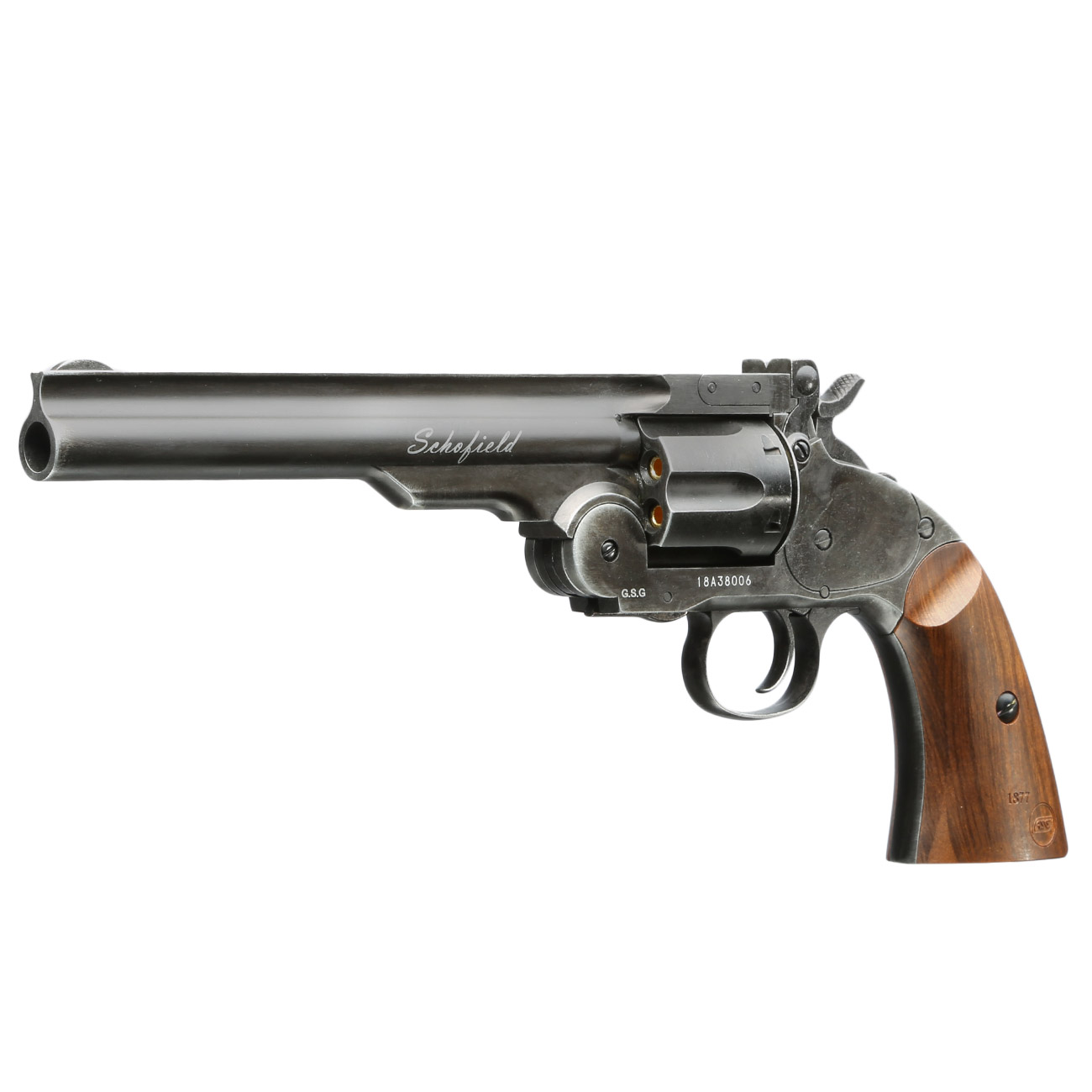 ASG Schofield 1877 6 Zoll CO2-Revolver Kal. 4,5 mm Diabolo + Stahl-BB Vollmetall aging black 1