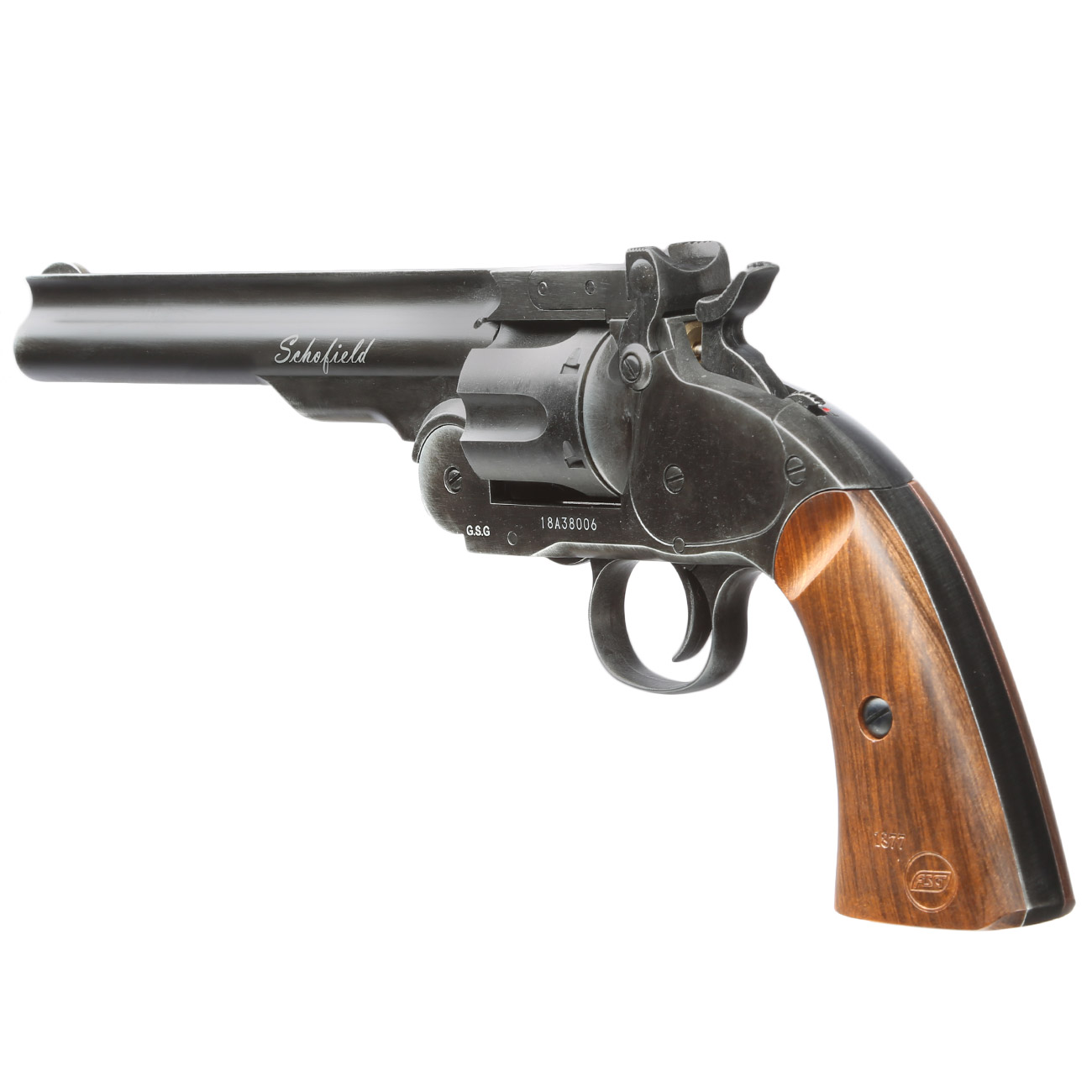 ASG Schofield 1877 6 Zoll CO2-Revolver Kal. 4,5 mm Diabolo + Stahl-BB Vollmetall aging black 2