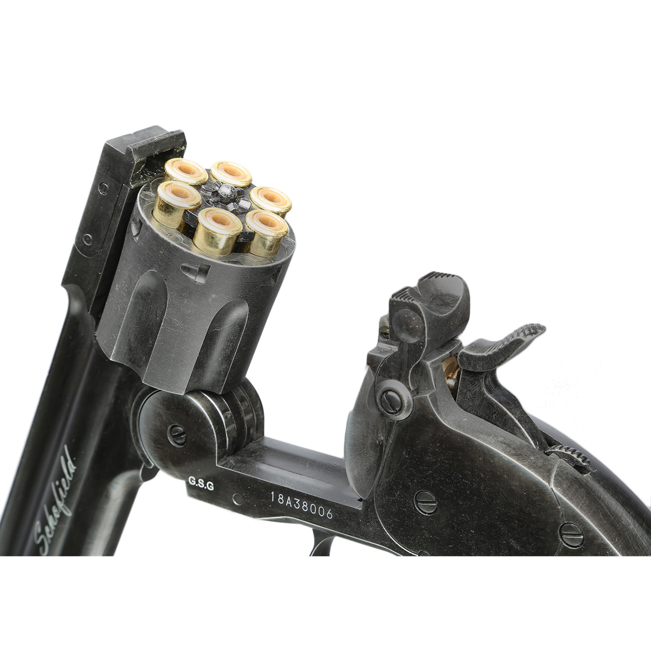 ASG Schofield 1877 6 Zoll CO2-Revolver Kal. 4,5 mm Diabolo + Stahl-BB Vollmetall aging black 3