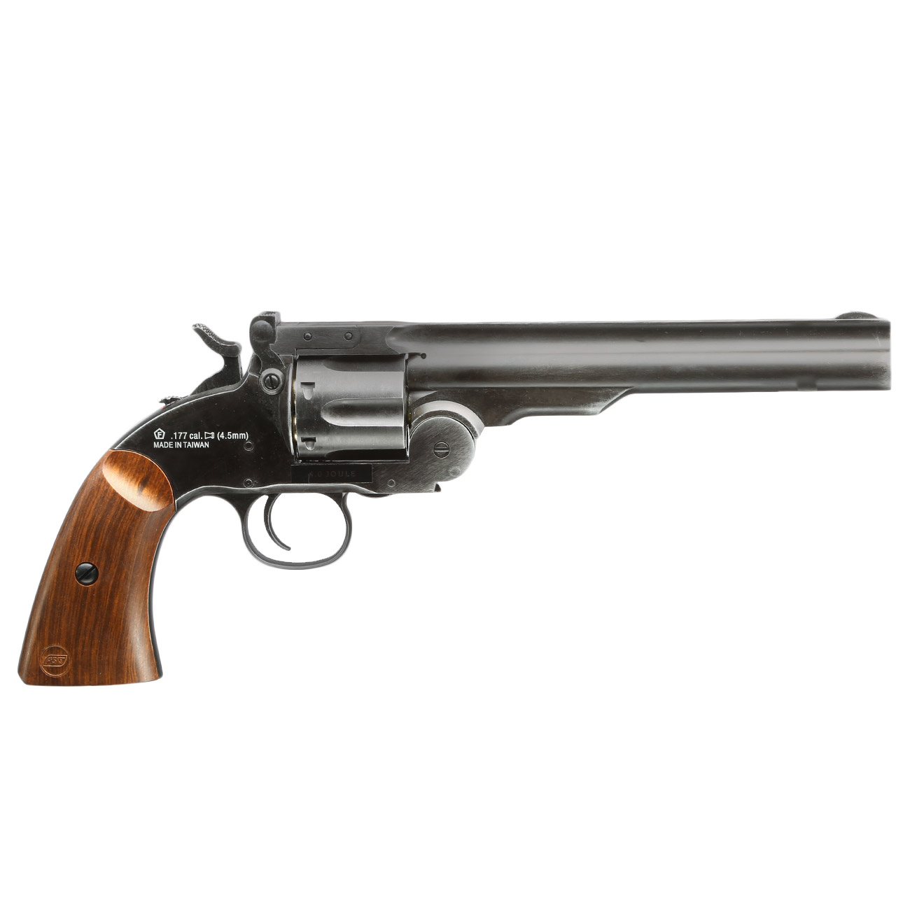 ASG Schofield 1877 6 Zoll CO2-Revolver Kal. 4,5 mm Diabolo + Stahl-BB Vollmetall aging black 4