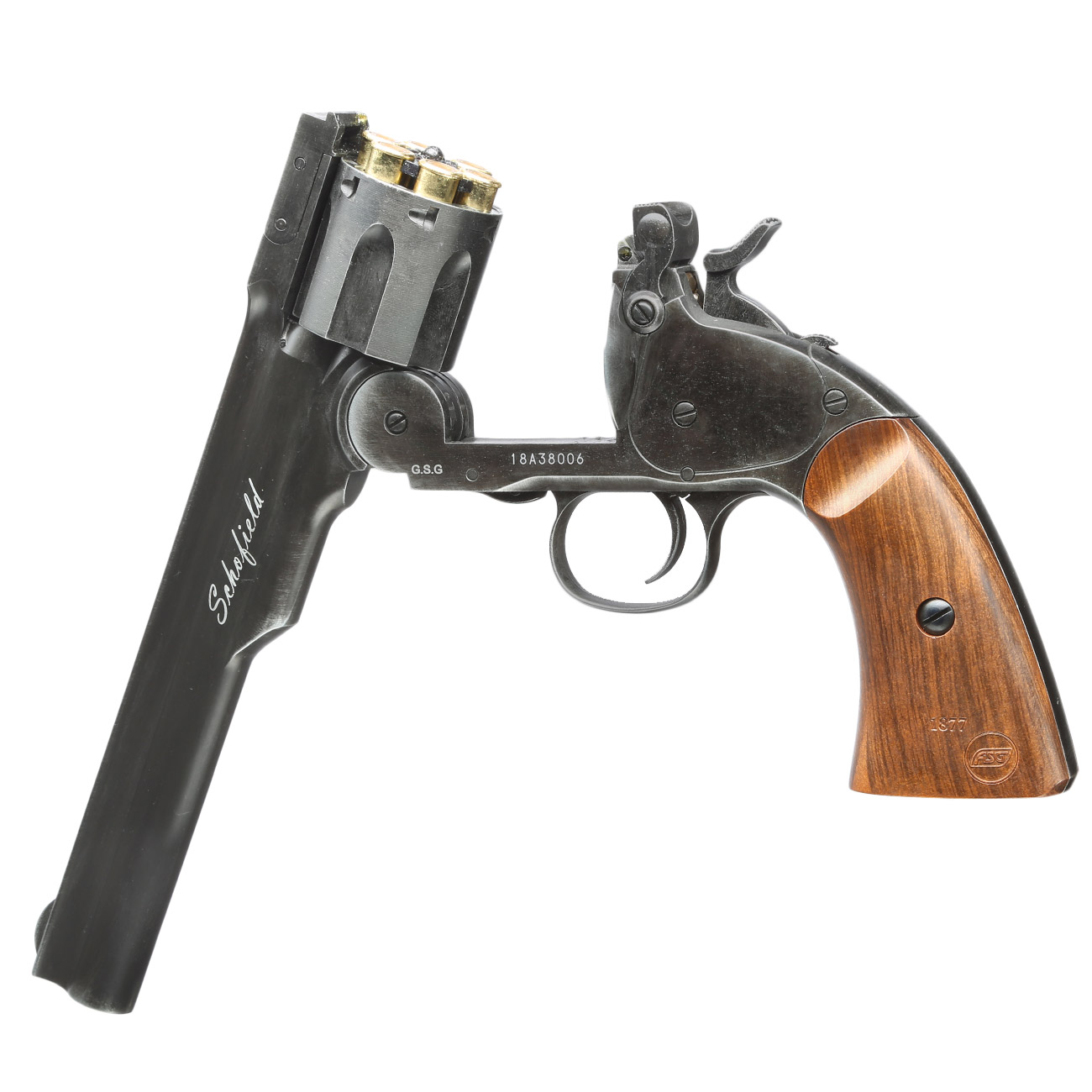 ASG Schofield 1877 6 Zoll CO2-Revolver Kal. 4,5 mm Diabolo + Stahl-BB Vollmetall aging black 5