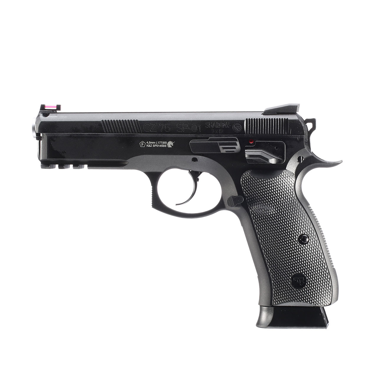 ASG CZ 75 SP-01 Shadow CO2-Luftpistole Kal. 4,5mm BB schwarz Vollmetall Blowback 0