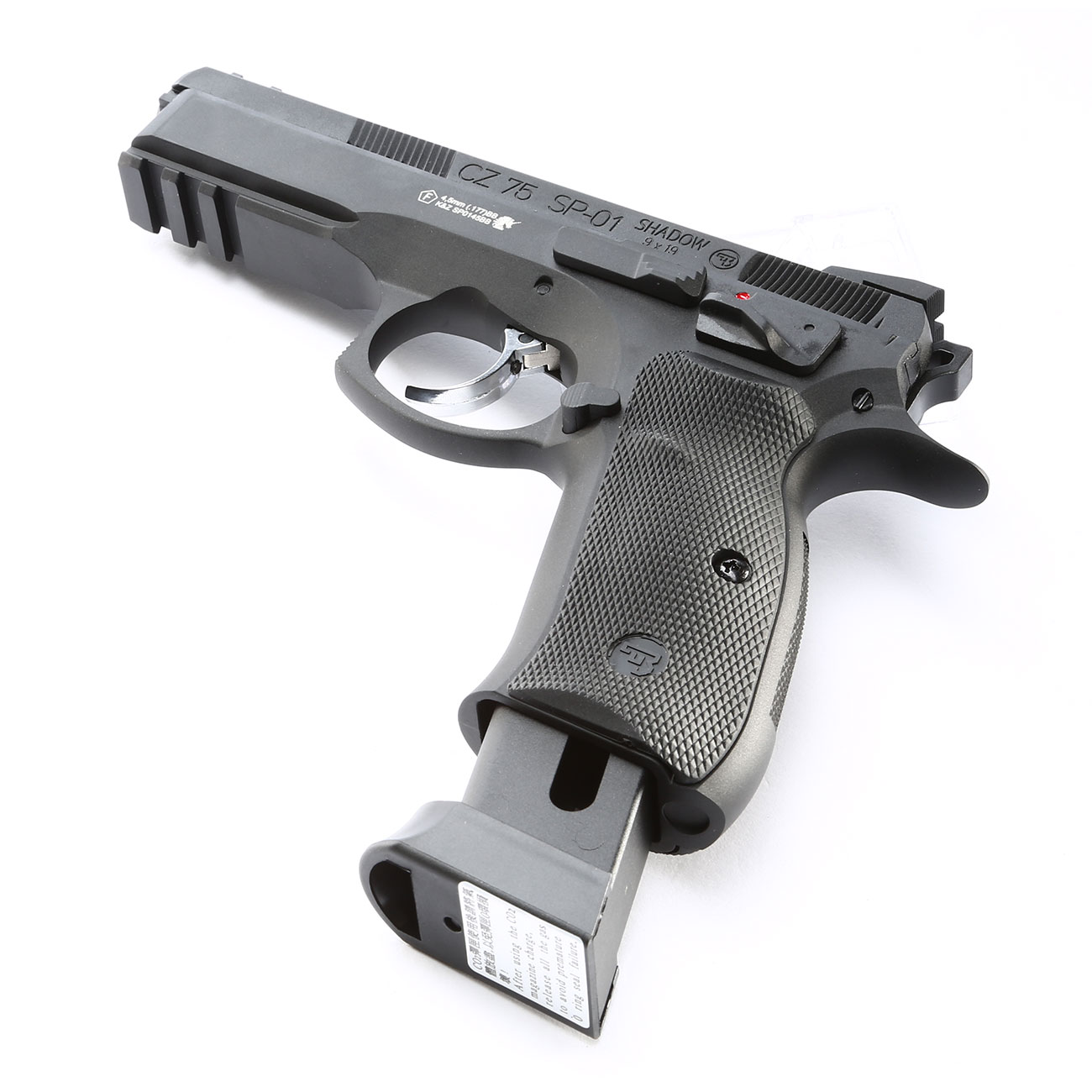 ASG CZ 75 SP-01 Shadow CO2-Luftpistole Kal. 4,5mm BB schwarz Vollmetall Blowback 6