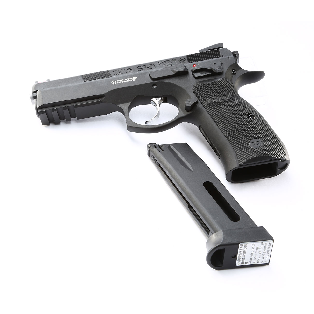 ASG CZ 75 SP-01 Shadow CO2-Luftpistole Kal. 4,5mm BB schwarz Vollmetall Blowback 7