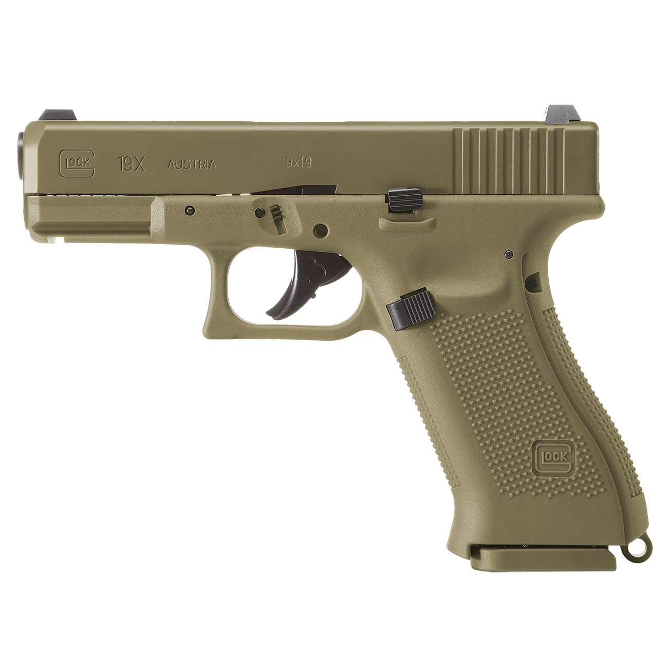 Glock 19X CO2-Luftpistole Kal. 4,5mm Stahl-BB coyote tan Blowback 0
