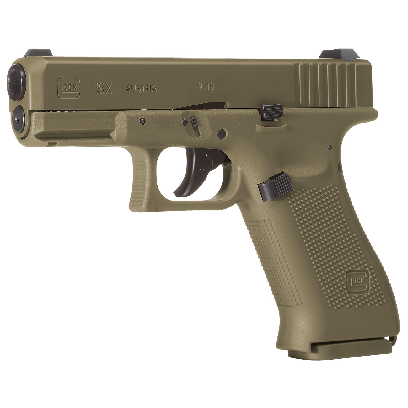 Glock 19X CO2-Luftpistole Kal. 4,5mm Stahl-BB coyote tan Blowback 1