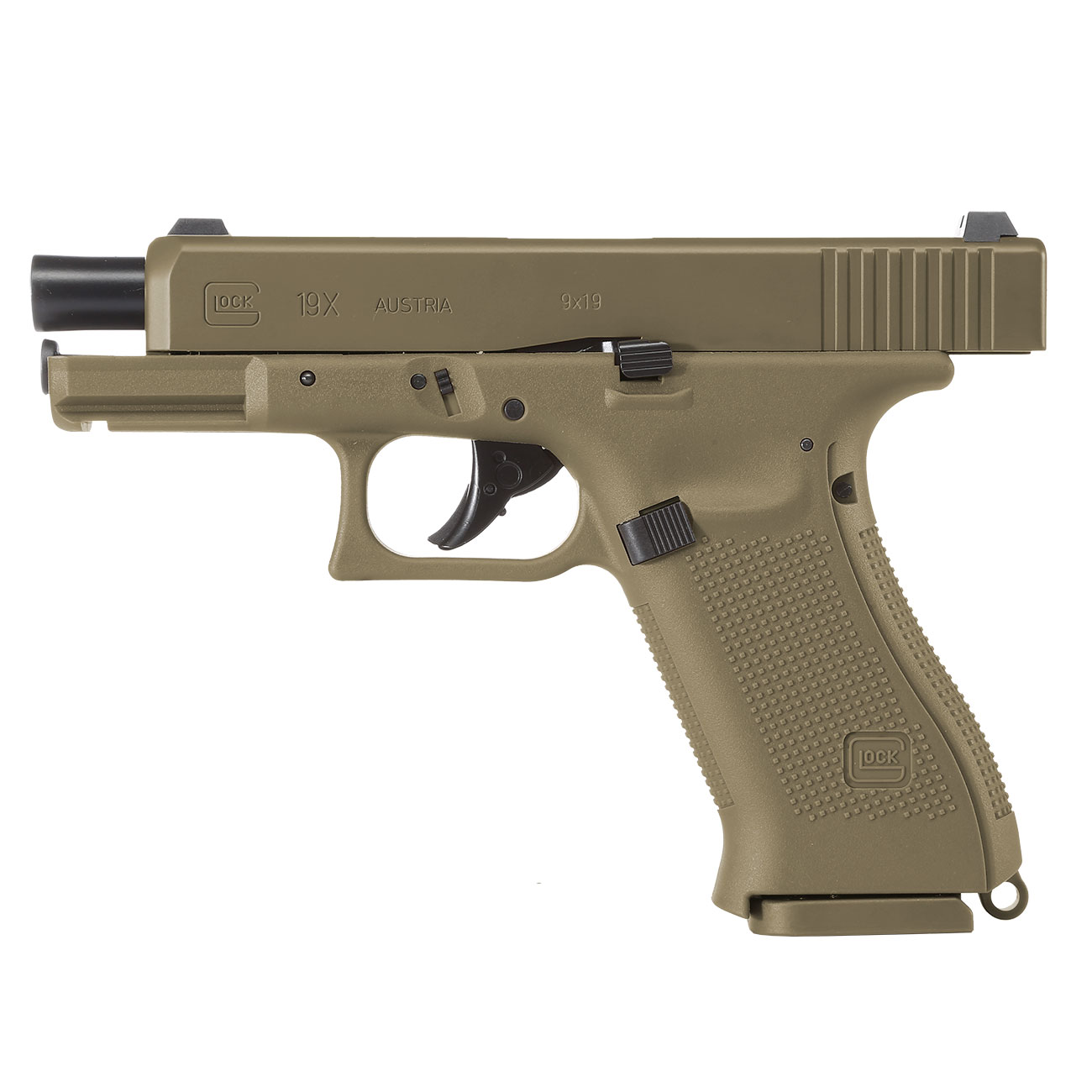 Glock 19X CO2-Luftpistole Kal. 4,5mm Stahl-BB coyote tan Blowback 2