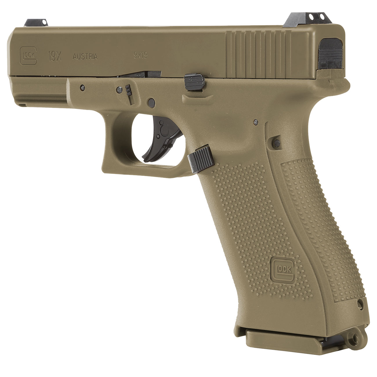 Glock 19X CO2-Luftpistole Kal. 4,5mm Stahl-BB coyote tan Blowback 3