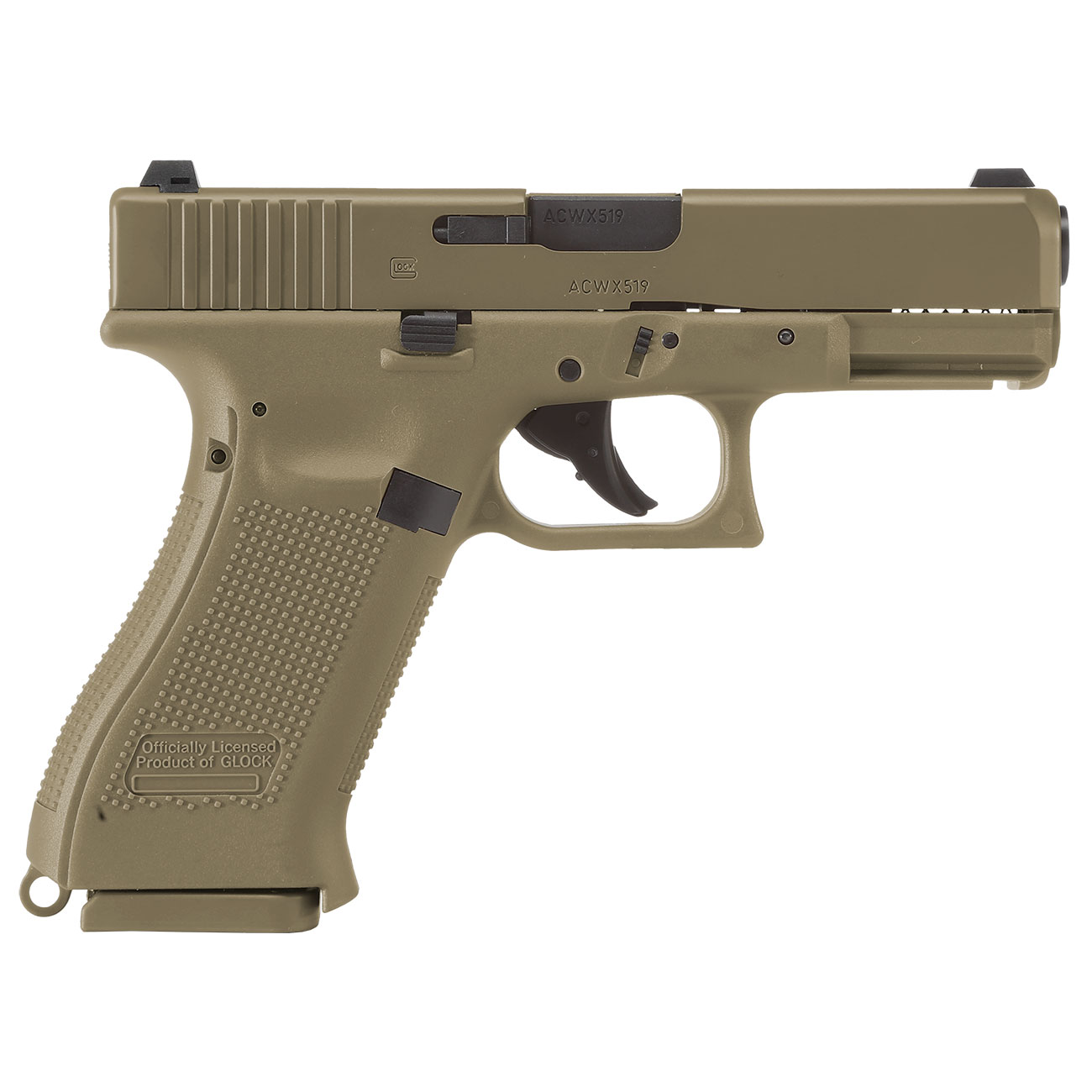 Glock 19X CO2-Luftpistole Kal. 4,5mm Stahl-BB coyote tan Blowback 4