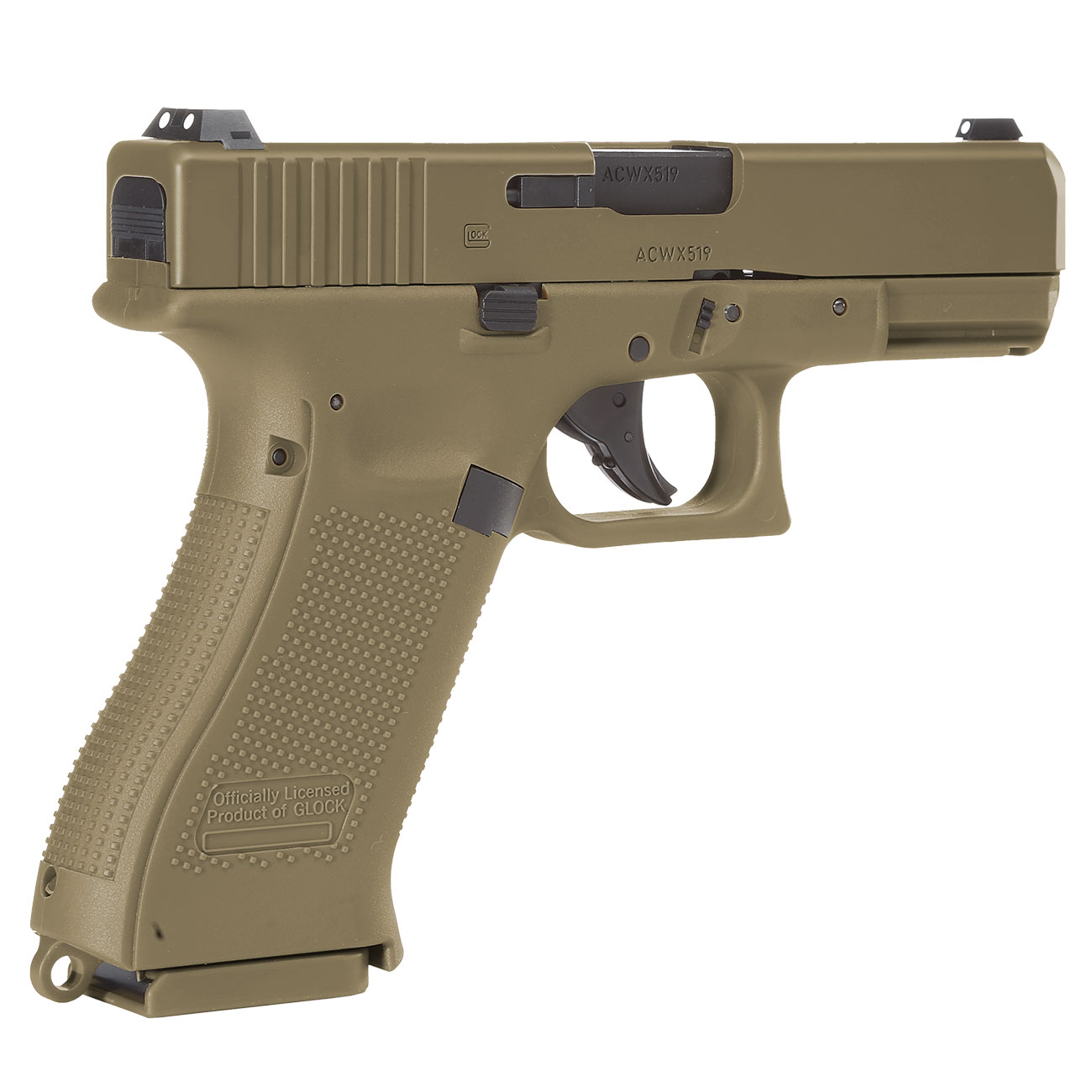 Glock 19X CO2-Luftpistole Kal. 4,5mm Stahl-BB coyote tan Blowback 5