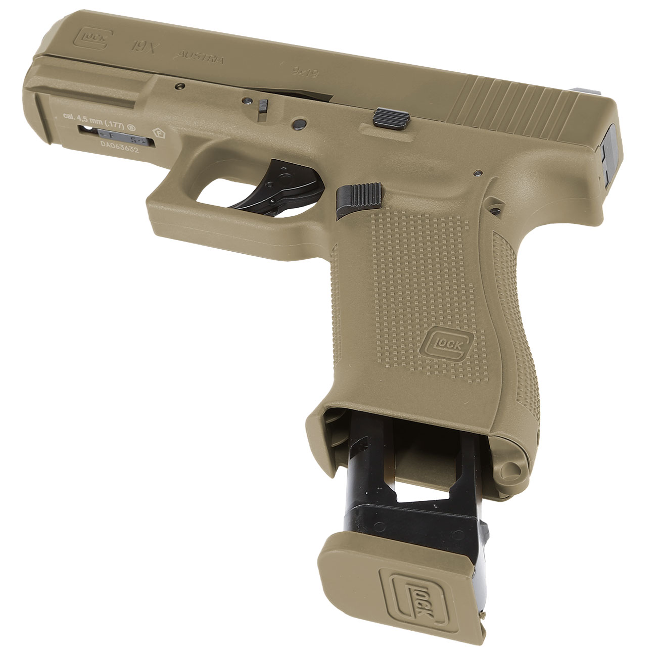 Glock 19X CO2-Luftpistole Kal. 4,5mm Stahl-BB coyote tan Blowback 6