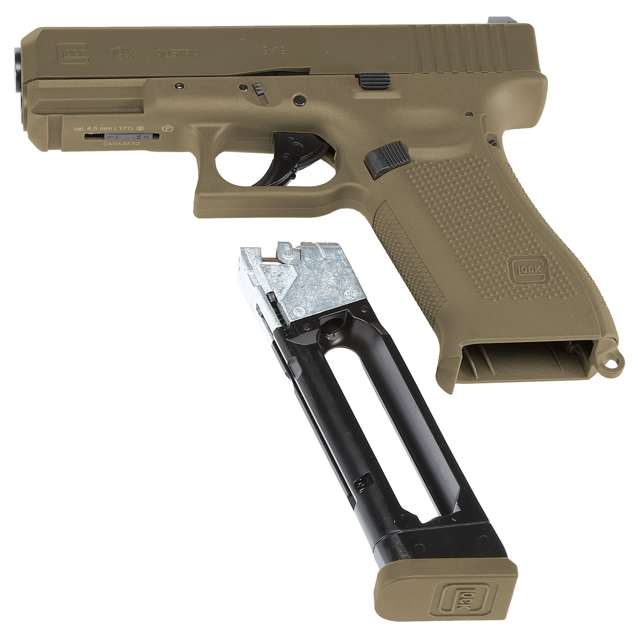 Glock 19X CO2-Luftpistole Kal. 4,5mm Stahl-BB coyote tan Blowback 7
