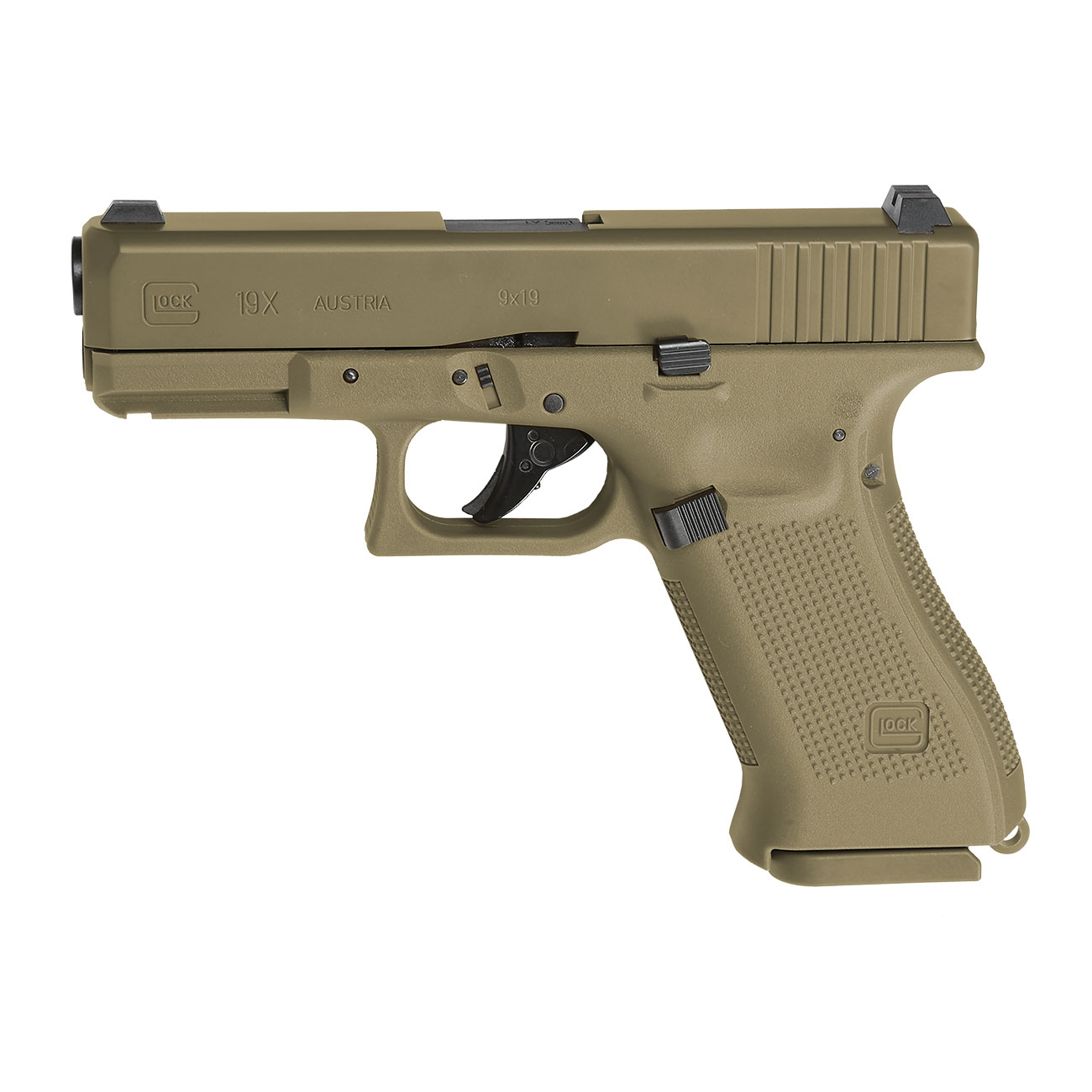 Glock 19X CO2-Luftpistole Kal. 4,5mm Stahl-BB coyote tan Blowback 8