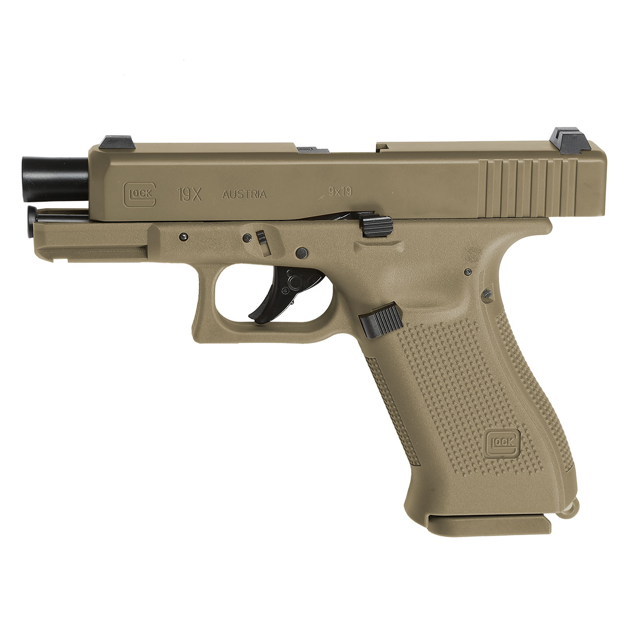 Glock 19X CO2-Luftpistole Kal. 4,5mm Stahl-BB coyote tan Blowback 9