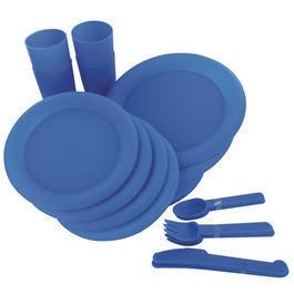 Highlander Campinggeschirr Picknick Set 24 Teile blau