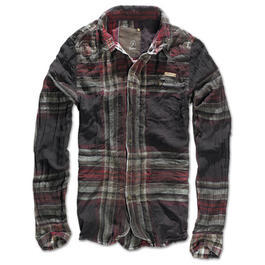 Brandit Hemd Wire Shirt Raven  choco-red kariert