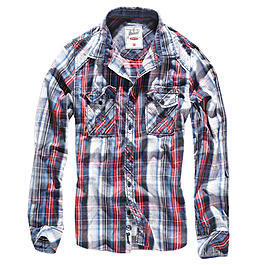 Brandit Central City Check Shirt navy-wei�