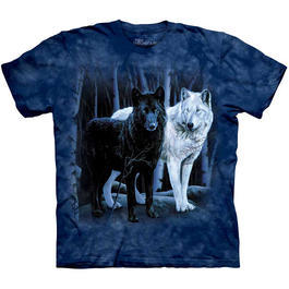 Wildlife T-Shirt Black & White Wolves
