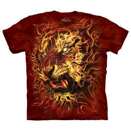 Mountain T-Shirt Fire Tiger