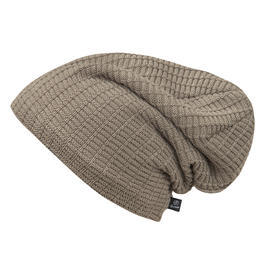 Brandit Beanie John Ajour-knitted mit Teddyfell taupe