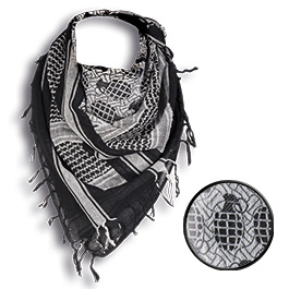 Mil-Tec PLO Tuch Handgranatenmotiv Shemagh schwarz/weiß