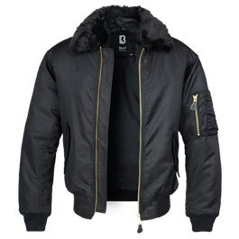 Brandit MA2 Jacke Fur Collar mit Pelzkragen schwarz