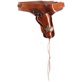 Coltgürtel aus Leder mit Sheriffstern für 1 Colt inkl. 24 Dekopatronen braun