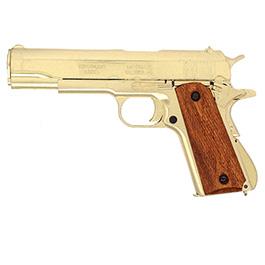 Dekowaffe 45er Colt Government M191A1 goldfinish Holzgriffschalen