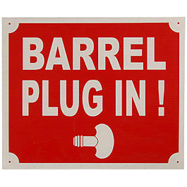 Schild BARREL PLUG IN 30x25