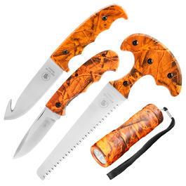 Ausrüstung - Outdoor-Set 4-teilig mit Taschenlampe und Etui orange-camo