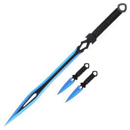 Haller Rückenschwert mit Dolchen schwarz/blau inkl. Nylonscheide