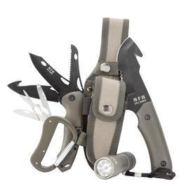 Survivalmesser - MFH Messerset mit LED + Nylonscheide oliv