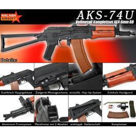 Kalash AKS-74U Vollmetall Echtholz Softair Komplettset S-AEG 6mm BB