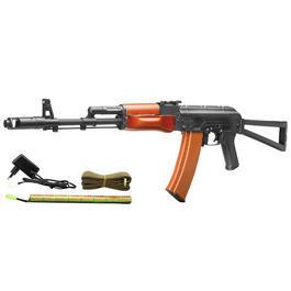 Softair AEG - Kalash AKS-74 Vollmetall Echtholz Softair Komplettset S-AEG 6mm BB
