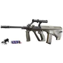 Softair-Waffen - Jing Gong AUG A1 Softair Komplettset S-AEG 6mm BB oliv-grau