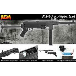 Softair Verkauf - AGM MP40 Vollmetall Komplettset S-AEG schwarz